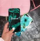【SZ14】iPhone7plus手機殼 ins墨綠芭蕉葉 光面烤瓷 軟膠 iPhone6/6s plus手機殼