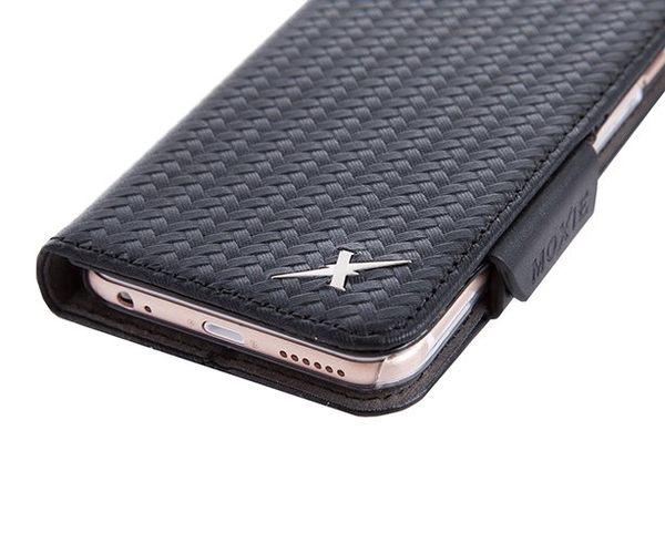 防電磁波手機皮套 X-SHELL 戀上iphone 6 plus/6s plus防電磁波皮套-精緻真皮拼接編織紋 尊爵黑