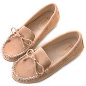 amai舒適升級。磨砂牛皮蝴蝶結綁帶豆豆鞋 杏