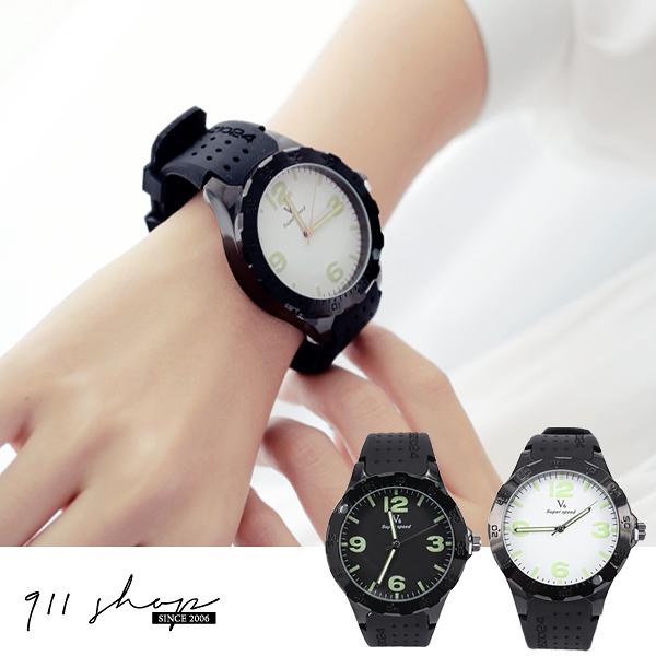 Wreath.V6品牌。個性黑夜光刻度大錶面分針轉盤矽膠錶帶手錶【ta476】*911 SHOP*