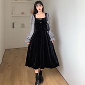 長款洋裝 2021秋冬新款chic法式氣質絲絨方領收腰中長款大碼女裝連身裙女潮 伊蘿