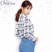 Victoria休閒中長版襯衫-女-深藍格/藍直條