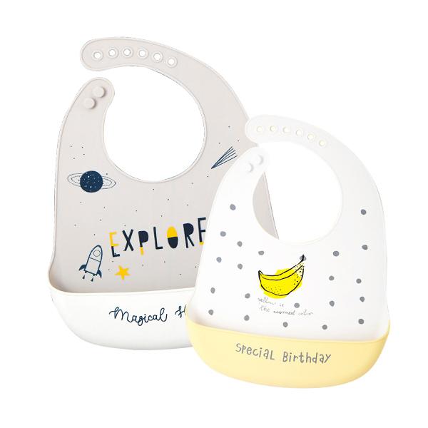 MuslinTree嬰兒圍兜寶寶吃飯矽膠圍嘴兒童防水飯兜-JoyBaby