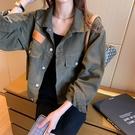 夾克外套 網紅牛仔外套女短款春秋韓版bf風休閒百搭寬鬆顯瘦工裝小夾克上衣 晶彩生活