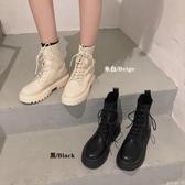 靴子馬丁靴女針織靴秋季時尚英倫風百搭繫帶厚底拼接短靴子 moon衣櫥