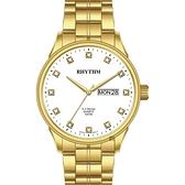 RHYTHM日本麗聲 S.V.Series晶鑽日曆手錶-白x金/40mm GS1602S06