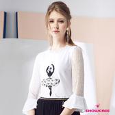 【SHOWCASE】小荷葉領蕾絲荷葉七分袖芭蕾女孩棉質上衣(黑/白)