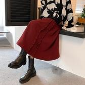 燈芯絨半身裙女秋冬中長款2021新款大碼胖MM復古加厚大擺A字裙潮 韓國時尚週