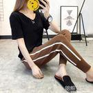運動褲女哈倫褲褲子女韓版寬鬆針織九分褲秋裝蘿卜褲 韓語空間