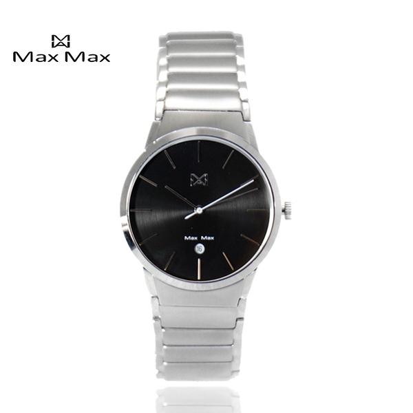 【完全計時】手錶館│MaxMax 原廠公司貨 黑時尚不鏽鋼帶情侶對錶 MAS7023-2 (小)