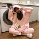 睡衣女秋冬季法蘭珊瑚絨厚加絨情侶可愛網紅外穿家居服套裝兩件套【秋季新品】