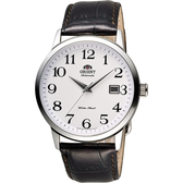 ORIENT 東方錶 DATE系列 復刻簡約機械錶-白x咖啡/41mm FER27008W
