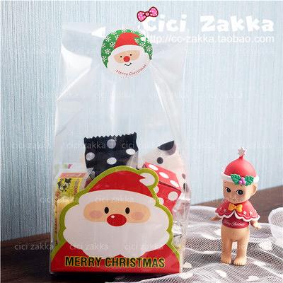 48入(平口袋+紙墊) 聖誕老人 透明食品袋【X016】 包裝袋 禮品袋 塑膠袋 餅乾袋 糖果袋 聖誕節袋