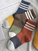 條紋中長襪子女生韓國學院風復古中筒襪秋季新款2018百搭韓版純棉