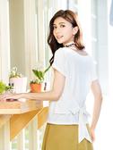 單一優惠價[H2O]前繡字縫珠設計後綁蝴蝶結裝飾T恤 - 桔粉/白/淺藍綠色 #0681002