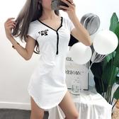 夜店洋裝 2020夏裝性感連身裙短袖V領夜店顯瘦低胸職業夜場女裝心機短裙子 初秋新品