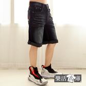 【2045】美國國旗刺繡刷白伸縮牛仔短褲 七分褲(黑色)● 樂活衣庫