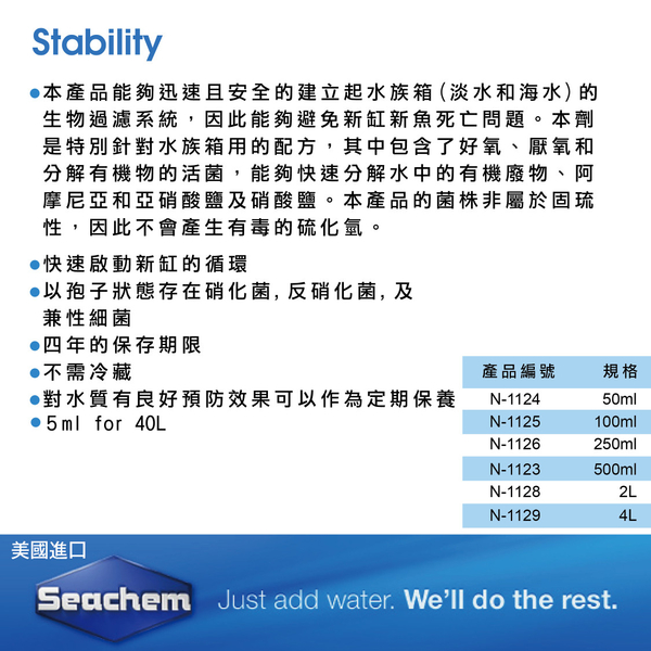 Seachem西肯 全效硝化菌【2L】濃縮活菌 換水添加 魚缸水混濁 水質清澈 專業推薦 魚事職人
