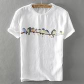 亞麻T恤-水彩小鳥印花棉麻短袖男上衣2色73xf44[巴黎精品]