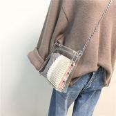 超火包包2018夏季新款塑料透明女包時尚簡約chic鏈條斜挎小包