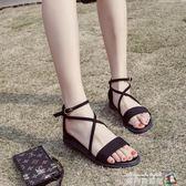 港風港味涼鞋女夏季復古chic女鞋子學生平底百搭韓版新款網紅 魔方