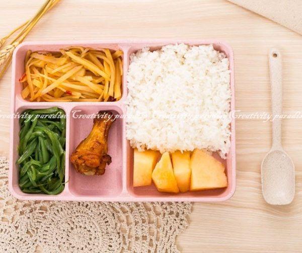 【小麥分格餐盒】附蓋附湯匙 環保無毒小麥秸稈可微波爐加熱四格飯盒 學生4格便當盒餐具