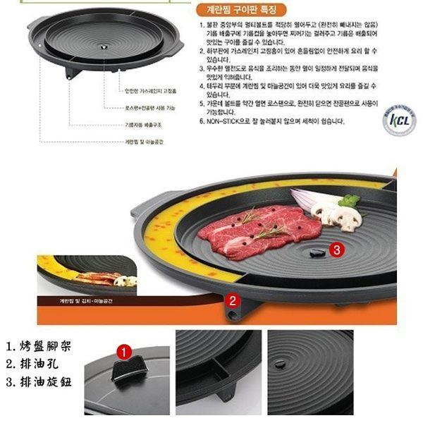 韓國製造 KITCHEN FLOWER 韓式油切烤盤(圓形37cm) 烘蛋,烤肉,煮湯...多功能烤盤 韓國暢銷人氣烤盤