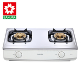 櫻花牌G615AS分離式爐頭不鏽鋼傳統式二口瓦斯爐-桶裝(不含安裝)