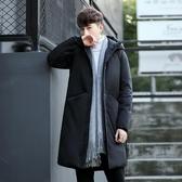 冬季新款男士外套羽絨服男中長款過膝連帽男裝加厚青年大衣服潮流