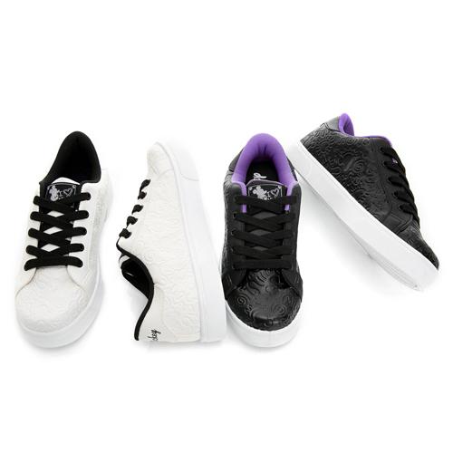 DISNEY 經典個性 米奇立體壓紋仿皮休閒鞋-黑(女)