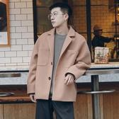 2019秋冬季西裝領純色加厚毛呢夾克男士韓版潮流寬鬆落肩呢子外套叢林之家