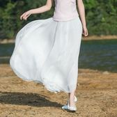 新款女裝民族風素雅文藝范雙層大擺裙仙女裙百搭半身裙