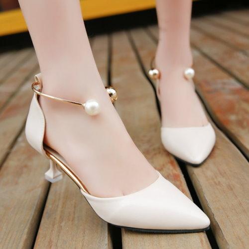 高跟鞋.氣質尖頭珍珠環釦高跟鞋.白鳥麗子