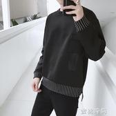 2020春季新款港風長袖t恤男學生寬鬆衛衣前短後長慵懶圓領潮上衣『蜜桃時尚』