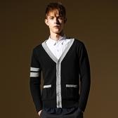 針織外套-薄款V領拼色條紋長袖男針織衫73ik70【時尚巴黎】