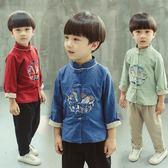 兒童漢服男童中國風唐裝套裝男寶寶復古棉麻民國中式春秋生日漢服 萬聖節服飾九折