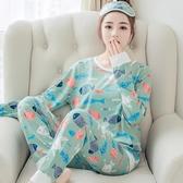睡衣女夏套裝長袖兩件套棉質薄款可外穿春秋季學生甜美卡通家居服