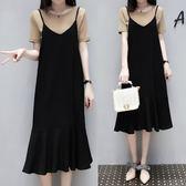 微購【A4426】T-shirt上衣+吊帶波浪裙 套裝 XL-4XL