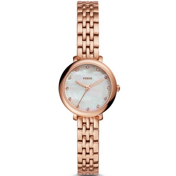 【台南 時代鐘錶 FOSSIL】ES4031 浪漫晶鑽 Jacqueline珍珠母貝小三針時尚腕錶 玫瑰金 26mm 公司貨開發票