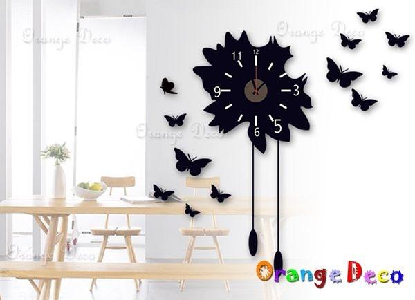 壁貼【橘果設計】黑蝴蝶 靜音壁貼時鐘 不傷牆設計 牆貼 壁紙裝潢