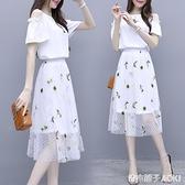 新款夏季小清新洋裝小個子韓版仙女超仙甜美網紗兩件套裝裙 青木鋪子