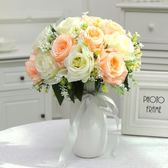 【新年鉅惠】仿真玫瑰花束套裝飾花瓶客廳餐桌臥室假塑料絹花干花藝電視柜擺件
