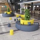 創意辦公沙發簡約培訓機構圓形弧形S異形休閒休息區接待茶幾組合 樂活生活館