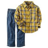 Carter's平行輸入童裝 男寶寶 長袖襯杉西裝上衣&褲子 黃【CA249G256】