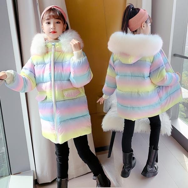 女兒童裝中大女童潮流棉服外套 女孩連帽彩虹夾棉女童外套羽絨服 韓加厚保暖秋冬洋氣加絨夾克