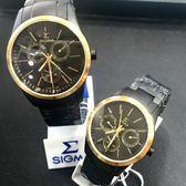 【名人鐘錶】SIGMA 霧面消光黑金三眼黑鋼對錶x40mm(大)&33mm(小)錶面・藍寶石水晶鏡面