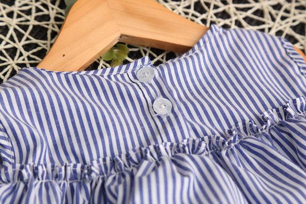 *╮小衣衫S13╭*小清新藍白條紋荷葉連身裙 1060416