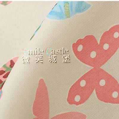 織夢園-蝴蝶【內含2窗】免費修改高度 棉麻穿管窗簾 寬100X高120cm|紗須加購 臺灣加工 微笑城堡