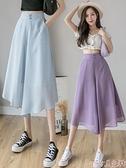七分褲 闊腿褲女夏季薄款七分褲2021年新款雪紡韓版高腰垂感百搭休閒褲裙  新品