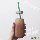 icolor 多用途可插吸管玻璃牛奶瓶